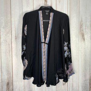 Citron Silk Crane Kimono Black Medium Flowy